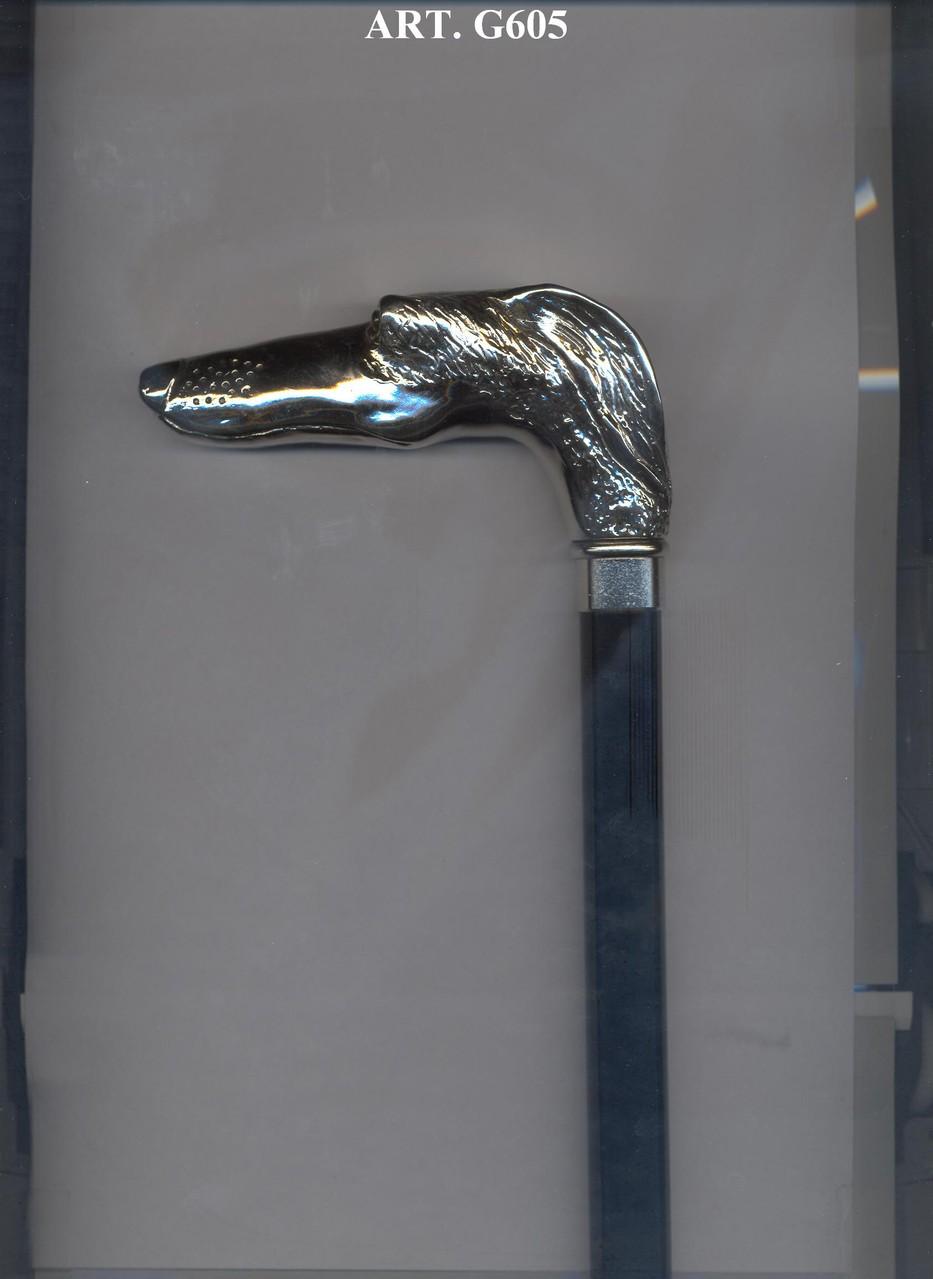 G605 Steunstok zwart en zilver handvat windhond