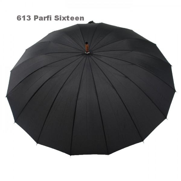 613 'Parfi Sixteen' zwart met 16 baleinen in glasvezel kleur zwart