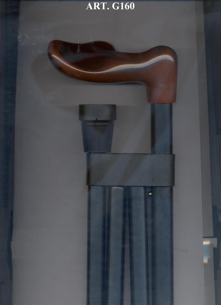 G160 Opvouwbaar steunstok alu zwart en ergonomisch bruin handvat rechts