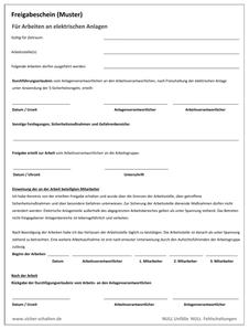 Freigabeschein - Durchführungserlaubnis - Anlagenbetreiber - Anlagenverantwortlicher - Arbeitsverantwortlicher - Schaltberechtigung