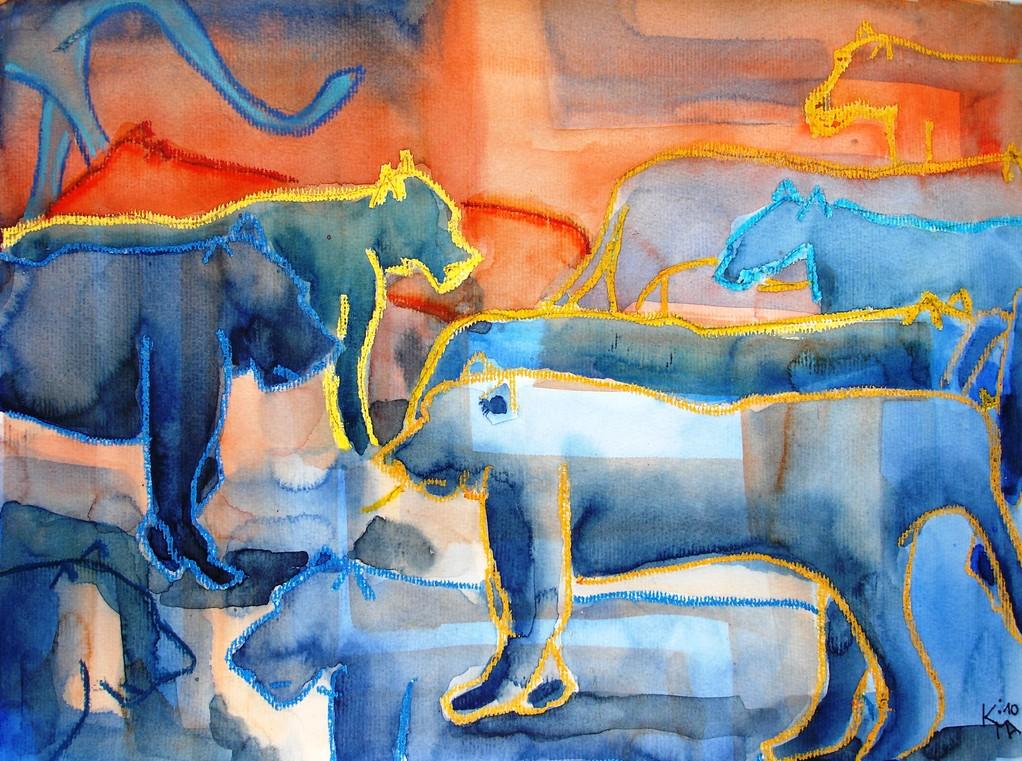 Mystisch, 2010, 29,7 x 42 cm, Aquarell Ölkreide