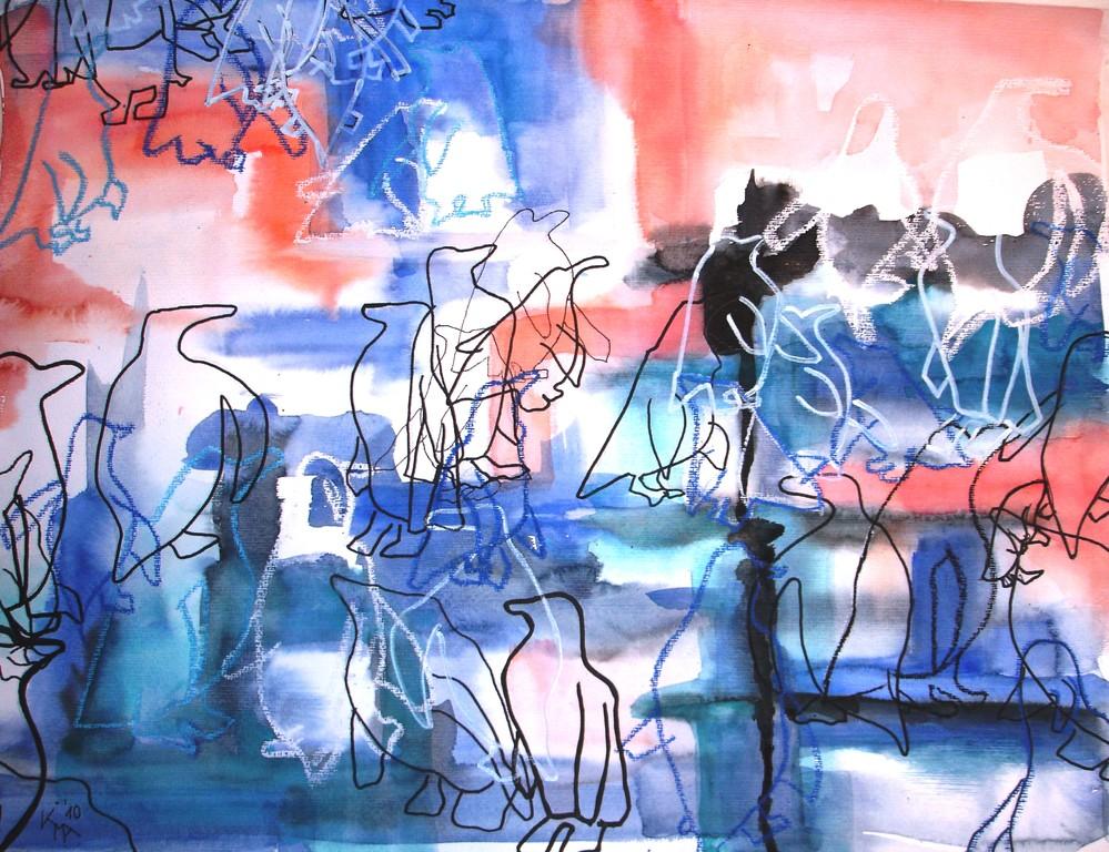 Das Leben auf der Scholle, 2010, 50 x 65cm, Aquarell Mischtechnik