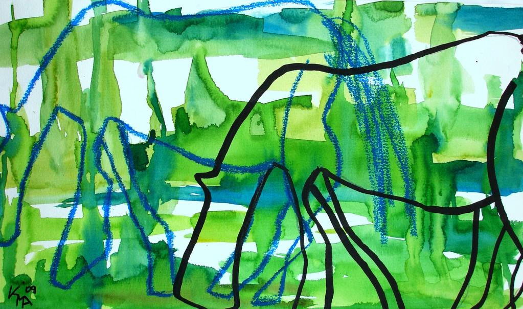 Pferdeglück, 2009, 28 x 40cm, Aquarell Mischtechnik