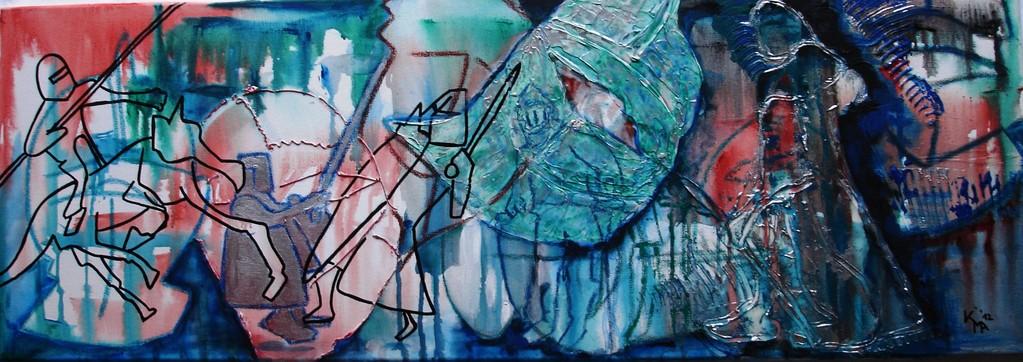 Ritterlich, 2011, Acryl, Spachtelmasse, Marker, 35 x 100cm