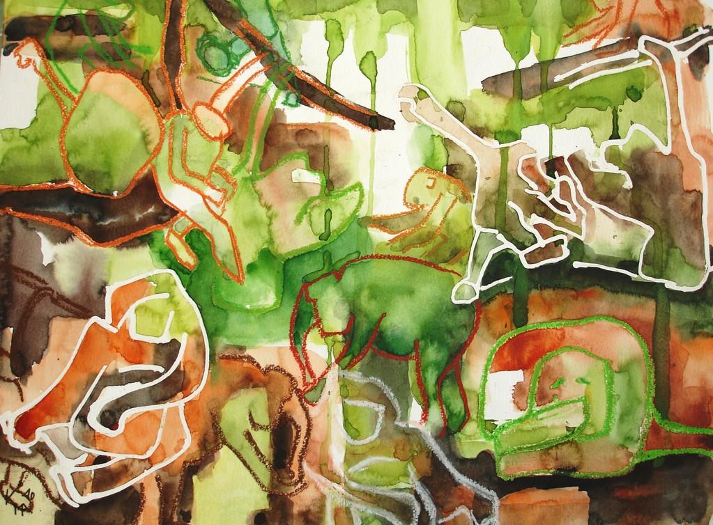 Dschungelfieber, 2010, 36 x 48cm, Aquarell Mischtechnik