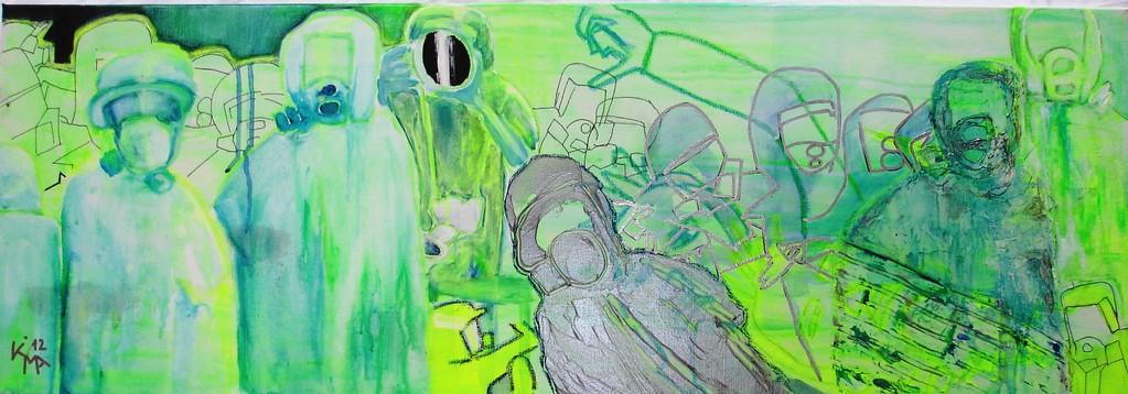 """""""Strahlenritter"""", 2012, Acryl, Spachtelmasse, Marker, Ölkreide, 35 x 100cm, Leinwand"""