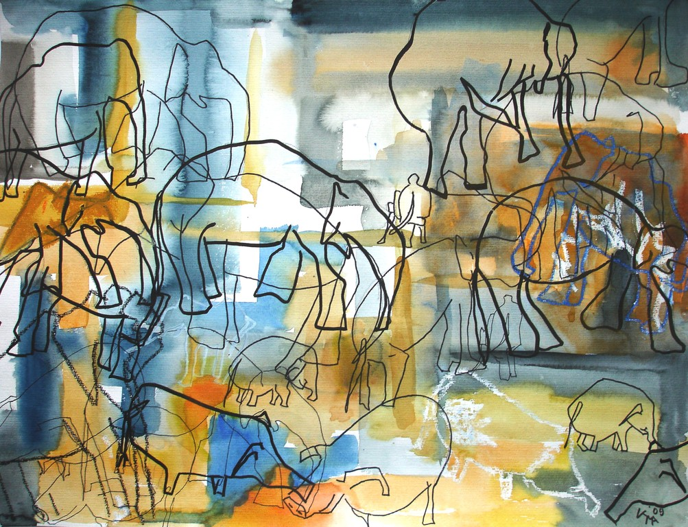 Savannenversammlung, 2009, 50 x 65cm, Aquarell Mischtechnik