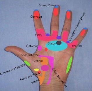 Points énergétiques sur les mains et les doigts