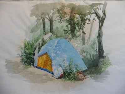 Heiner Preißing / Camping / Aquarell