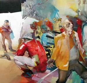 """""""Moses in Stalingrad"""", Acryl/Öl auf Lwd., 2002, 130cm x 120cm"""