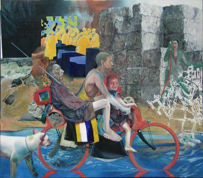 """""""Unterwegs"""", Acryl/Öl auf Lwd., 2009, 160cm x 180cm"""