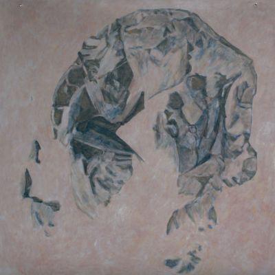 Jette Slangerod: Locatet #5. 2019, Acryl auf Leinwand, Größe: 94 x 94 cm