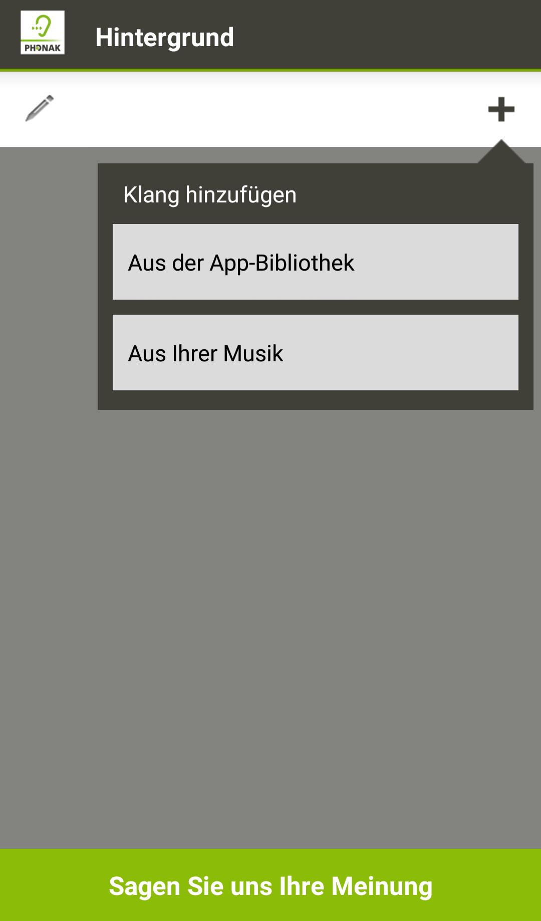 Die Klänge können entweder aus der App-Bibliothek oder aus Ihrer eigenen Musiksammlung gewählt werden.