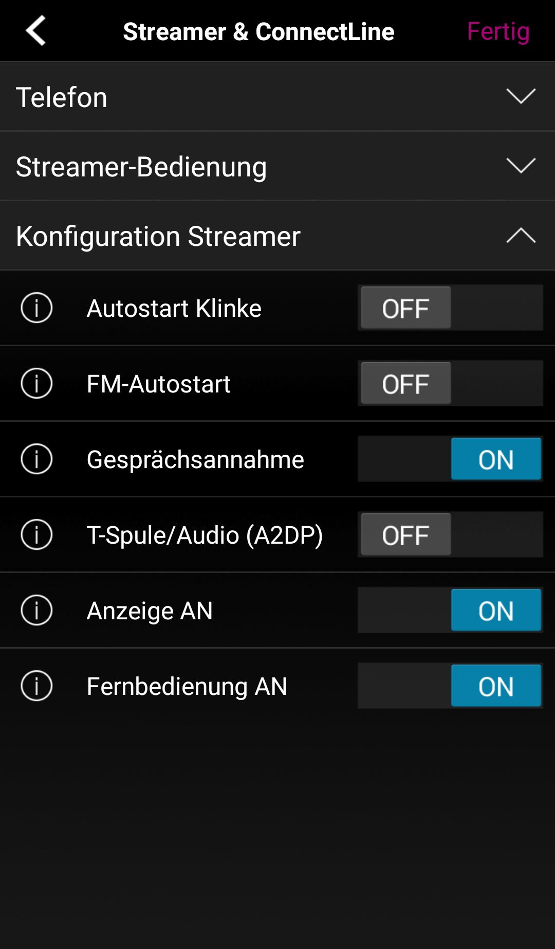 Weitere Konfigurationsmöglichkeiten der App.