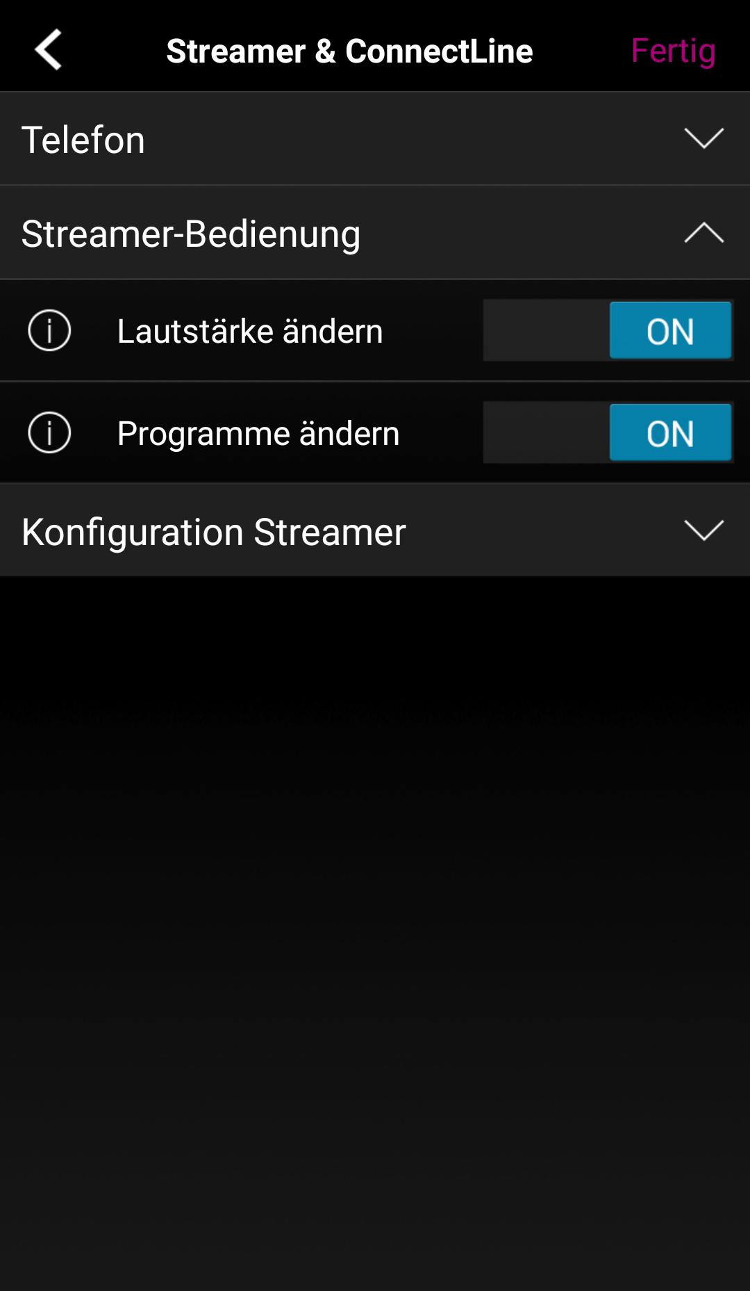 Lautstärke und Programme können über die App gesteuert werden.