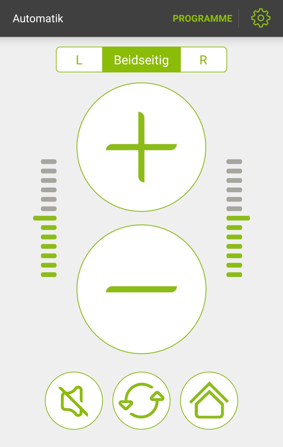 Fernbedienung: lauter/leiser, Programmwahl, Stummschaltung, Änderungen zurücksetzen.