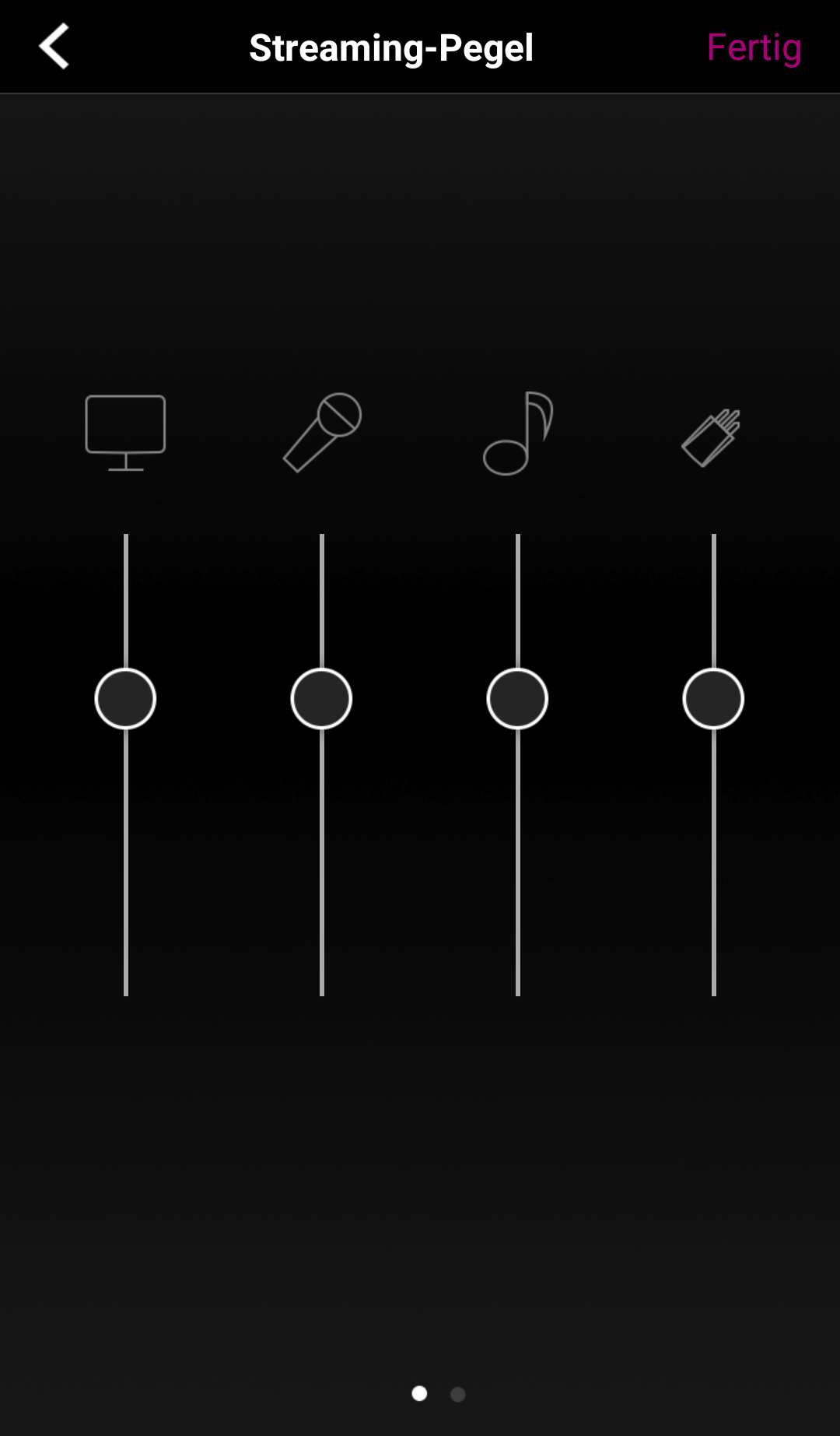 Einstellung der Lautstärke für die verschiedenen Audio-Quellen.