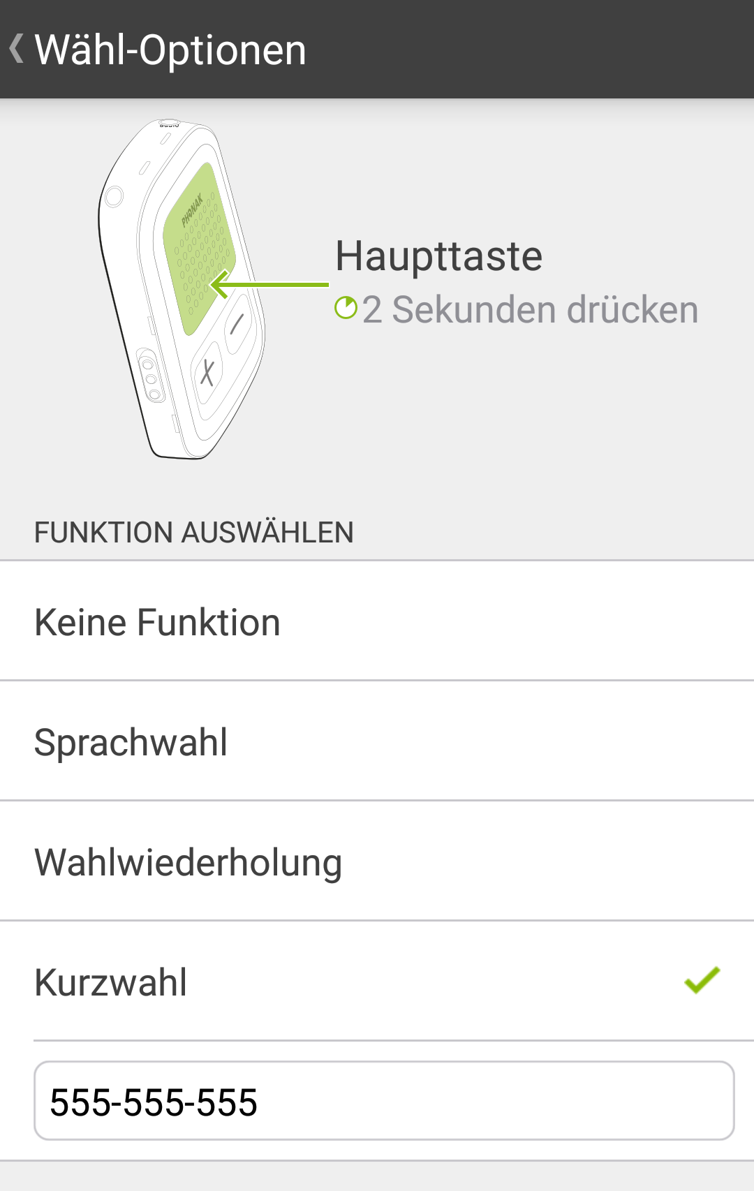 Das Telefon kann auch über die App gesteuert werden.