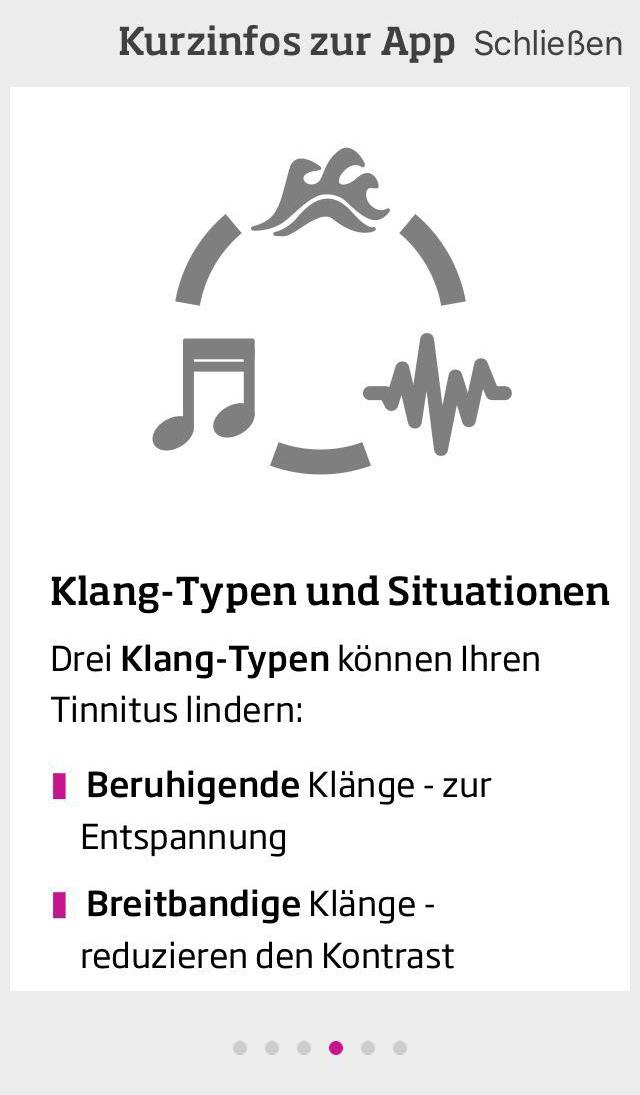 Jeder Tinnitus-Patient reagiert auf verschiedenen Situationen auf unterschiedliche Klänge. Die App gibt eine Einführung.