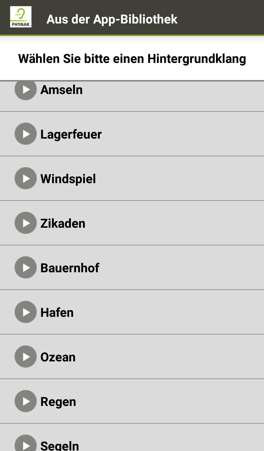 10 Klänge stellt die App zur Verfügung.