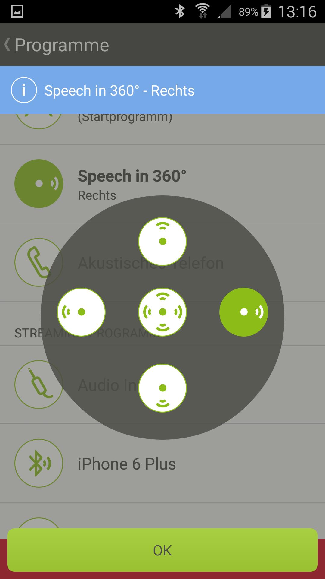 """Das Programm """"Speech in 360"""" erlaubt es dem Anwender, den Fokus der Richtmikrofone in eine gewünschte Richtung zu legen. Mehr Informationen hier klicken (Publikation """"ZoomControl"""")."""