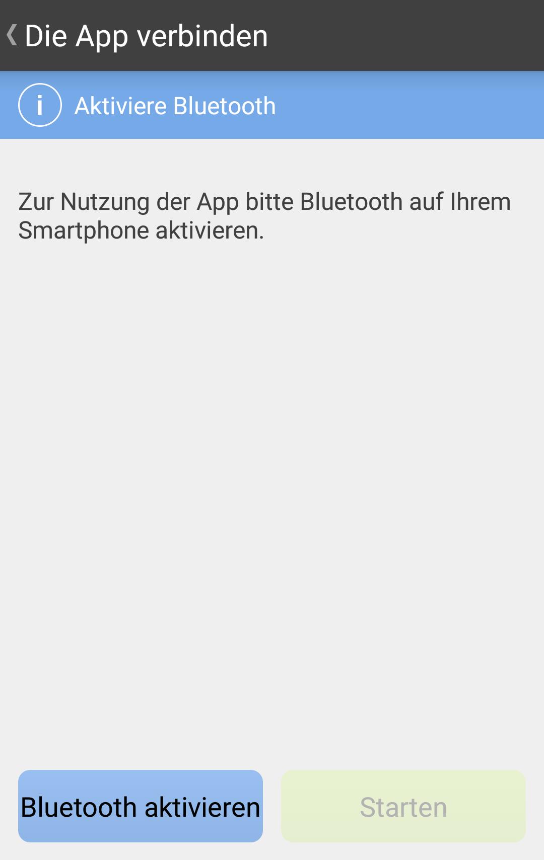 1. Schritt: Bluetooth muss aktiviert werden, um die Verbindung zum Telefon herzustellen.