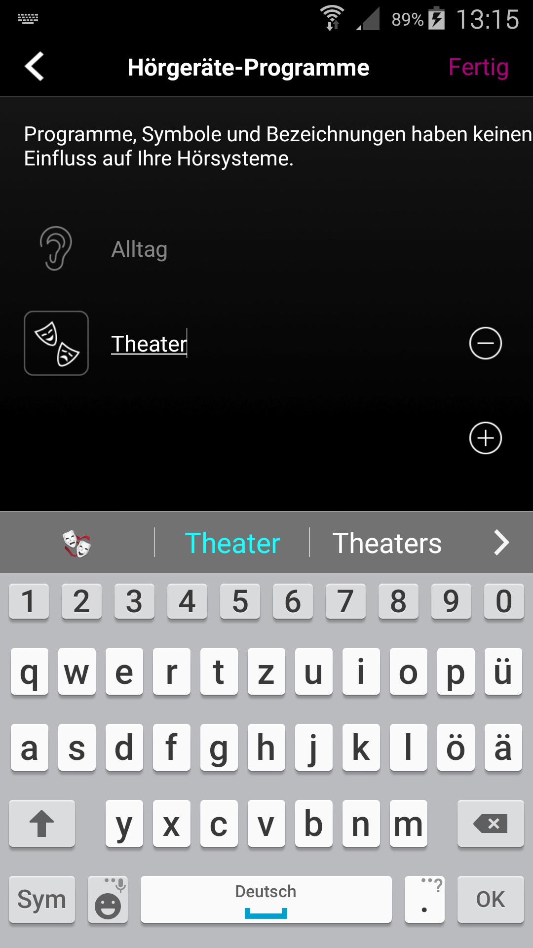 Falls Sie ein Programm für Theater-Besuche haben, können Sie in der App das Programm passend beschriften und das dazugehörige Bild auswählen.