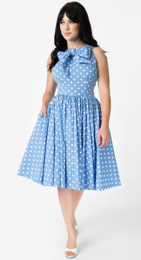 Unique Vintage Kleid Doheny blau - Rockabilly Fashion ...