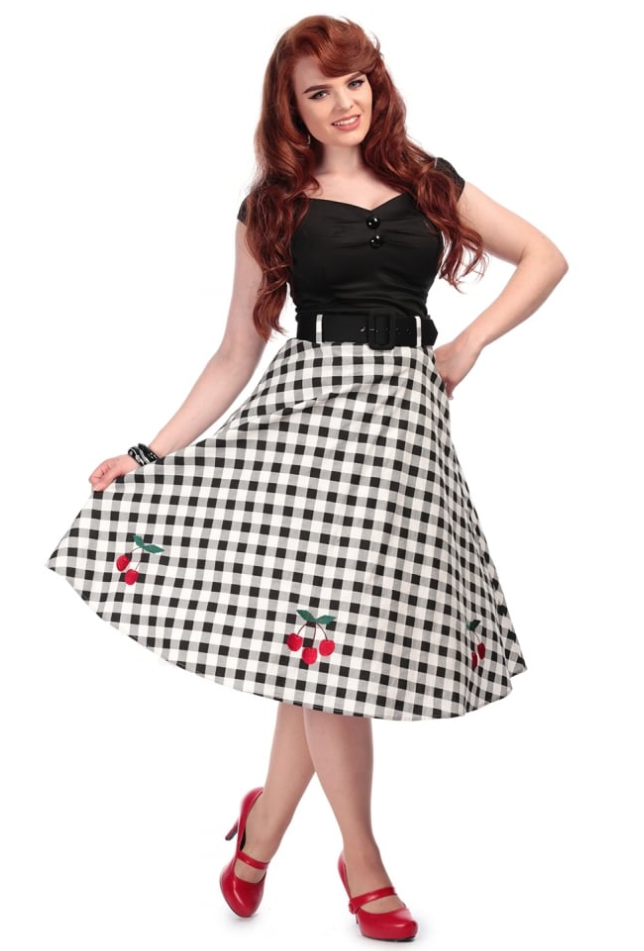 collectif jupe cherry vintage  rockabilly fashion