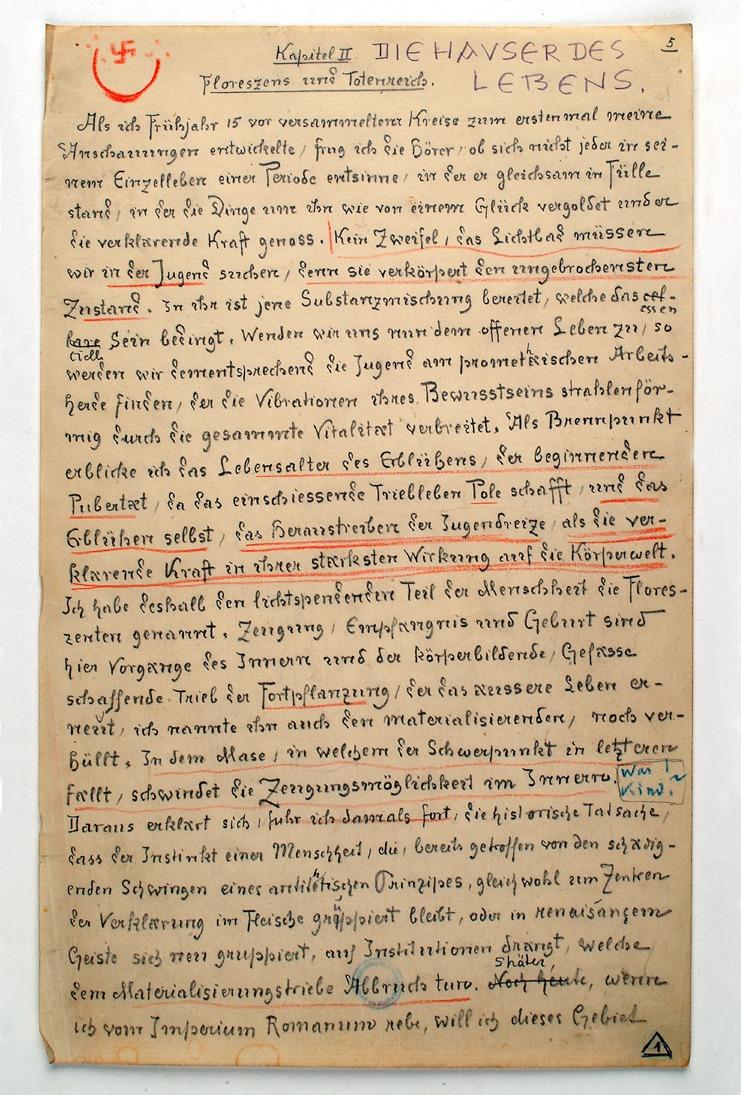 """Eine Manuskriptseite von Schulers Vorträgen """"Vom Wesen der Ewigen Stadt"""""""