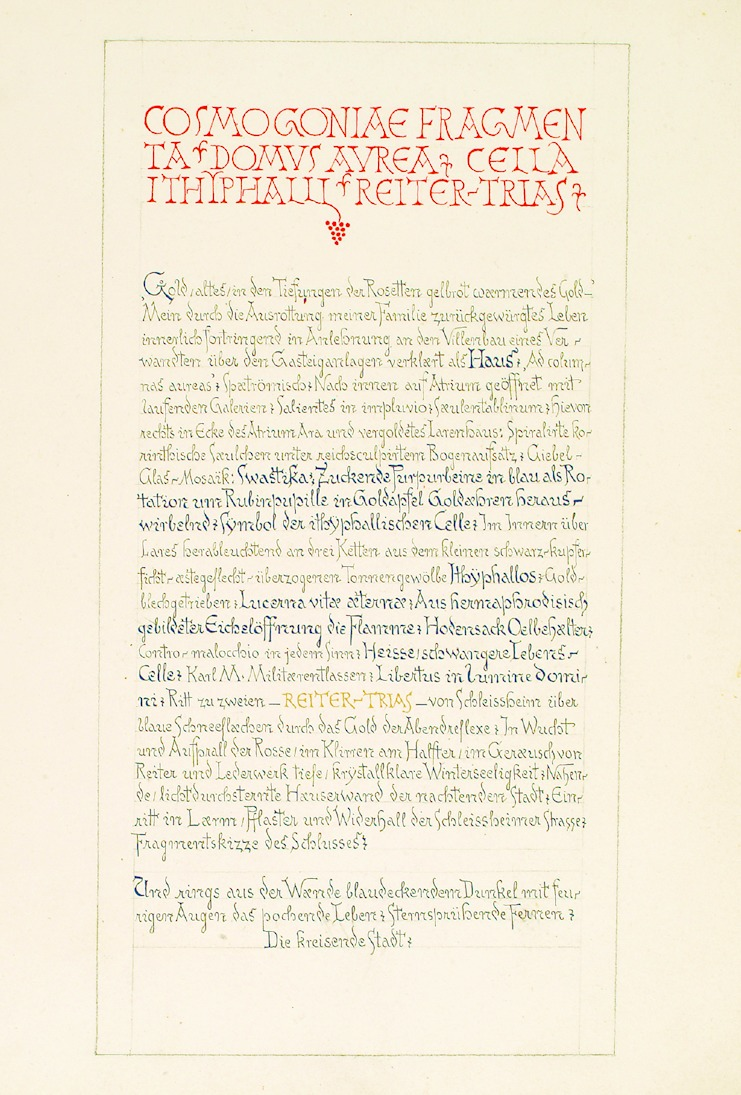 """Eine Manuskriptseite von Schulers """"Fragmenta Cosmogoniae"""""""