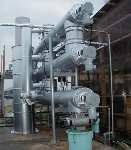 連続式多管型減圧「乾燥装置」写真