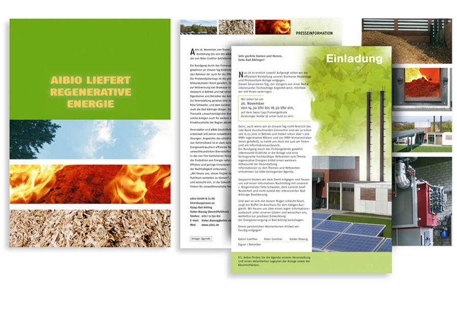 Fa. Aibio, Bad Aibling:  Pressearbeit, Fotografie, Einladungen, Image-Broschüre