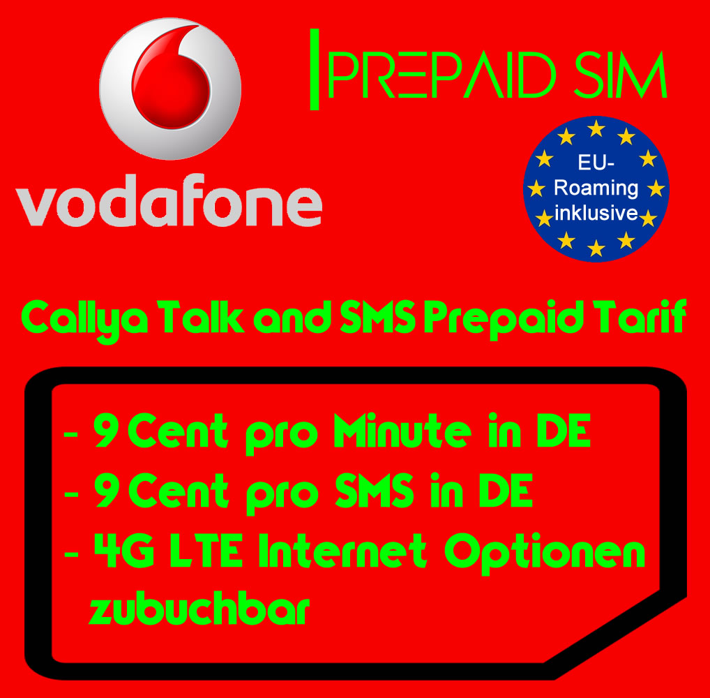 vodafone callya prepaid auflade sim karte mit 10 guthaben. Black Bedroom Furniture Sets. Home Design Ideas