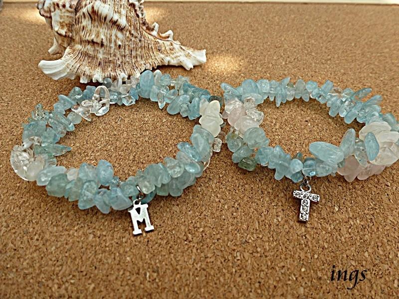浜辺の恋  ペアパワーストーンブレスレット