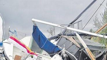 Total zerstört: Fast alle Boote des Günzburger Segelclubs sind beim Unwetter am Samstagabend beschädigt worden