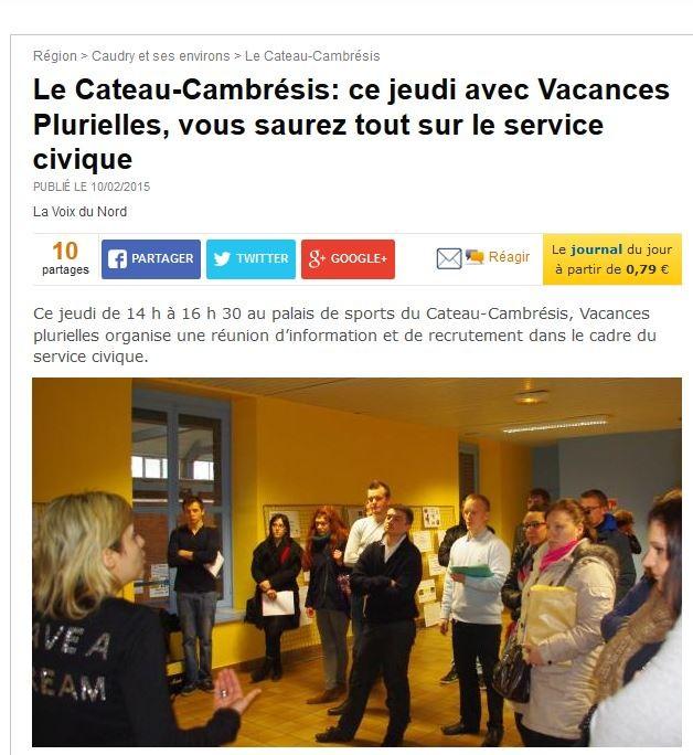 Réunion d'informations et de recrutement Service civique le jeudi 12 février 2015 à Le-Cateau