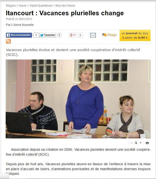 Réunion partenariale Itancourt janvier 2015, Aisne Nouvelle du 29 janvier 2015