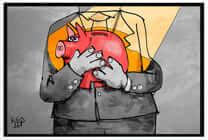 Mensch hält ein Sparschwein, um sein Einkommen zu schützen, Information zum Pfändungsschutzkonto und der Vermögensauskunft