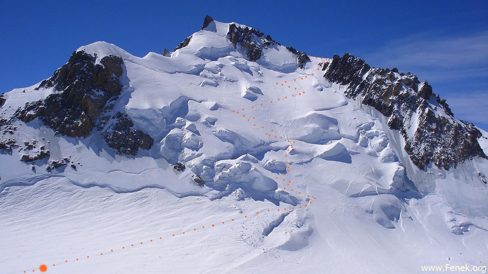 der morgige Verlauf zum Mont Maudit