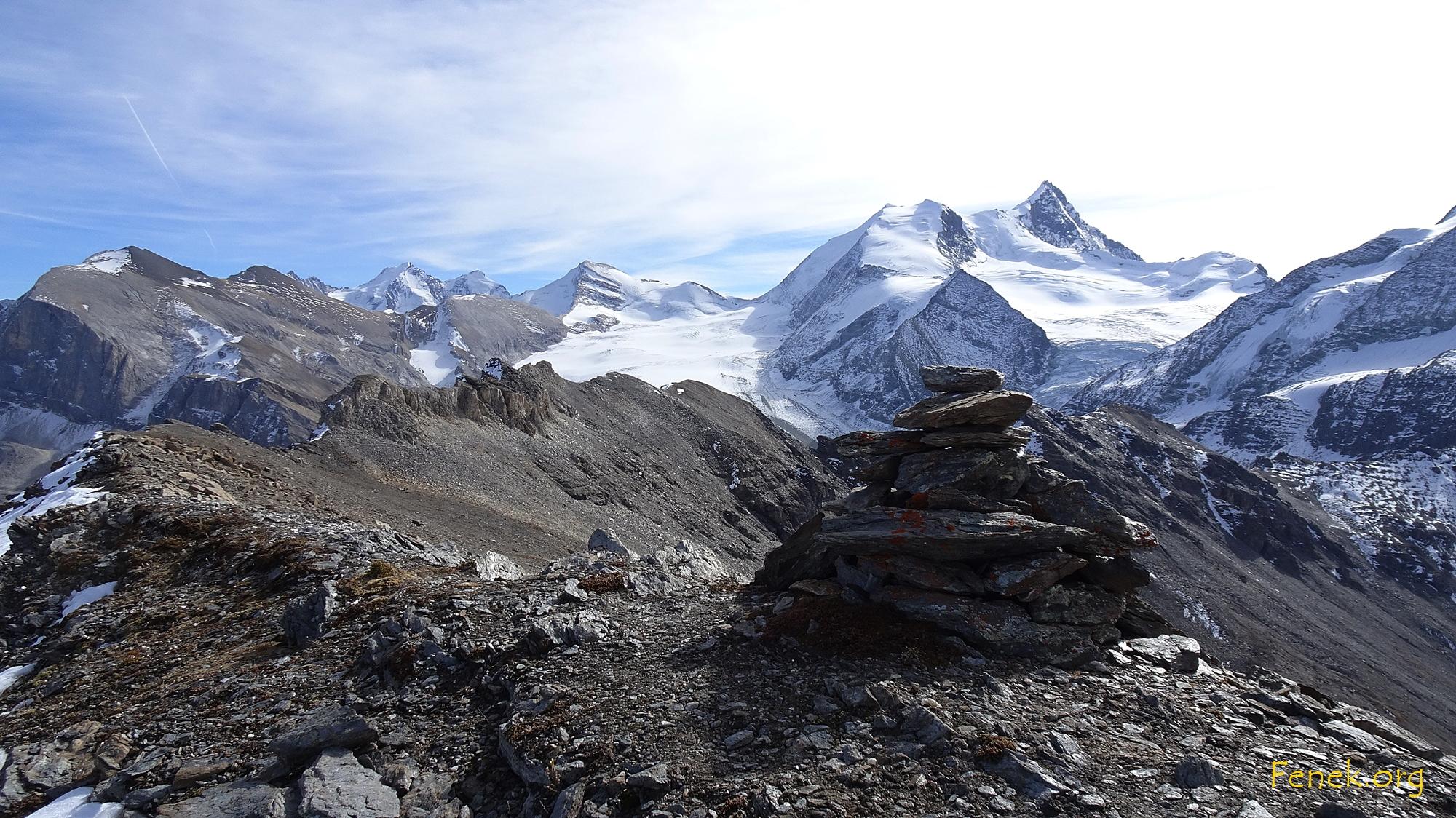 ausserordentliches Gipfelpanorama - Barrhörner - Brunegghorn - Bishorn - Weisshorn