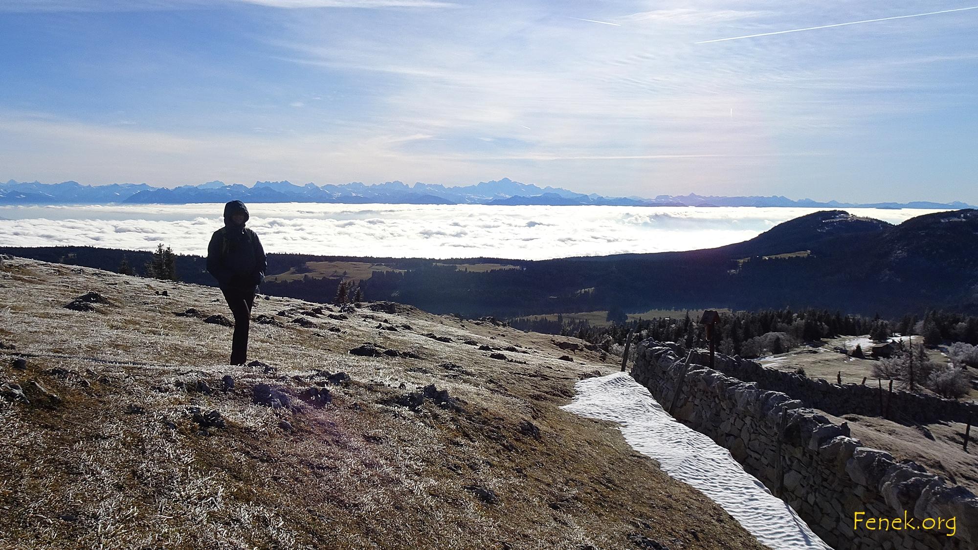 im Hintergrund der Mont Blanc