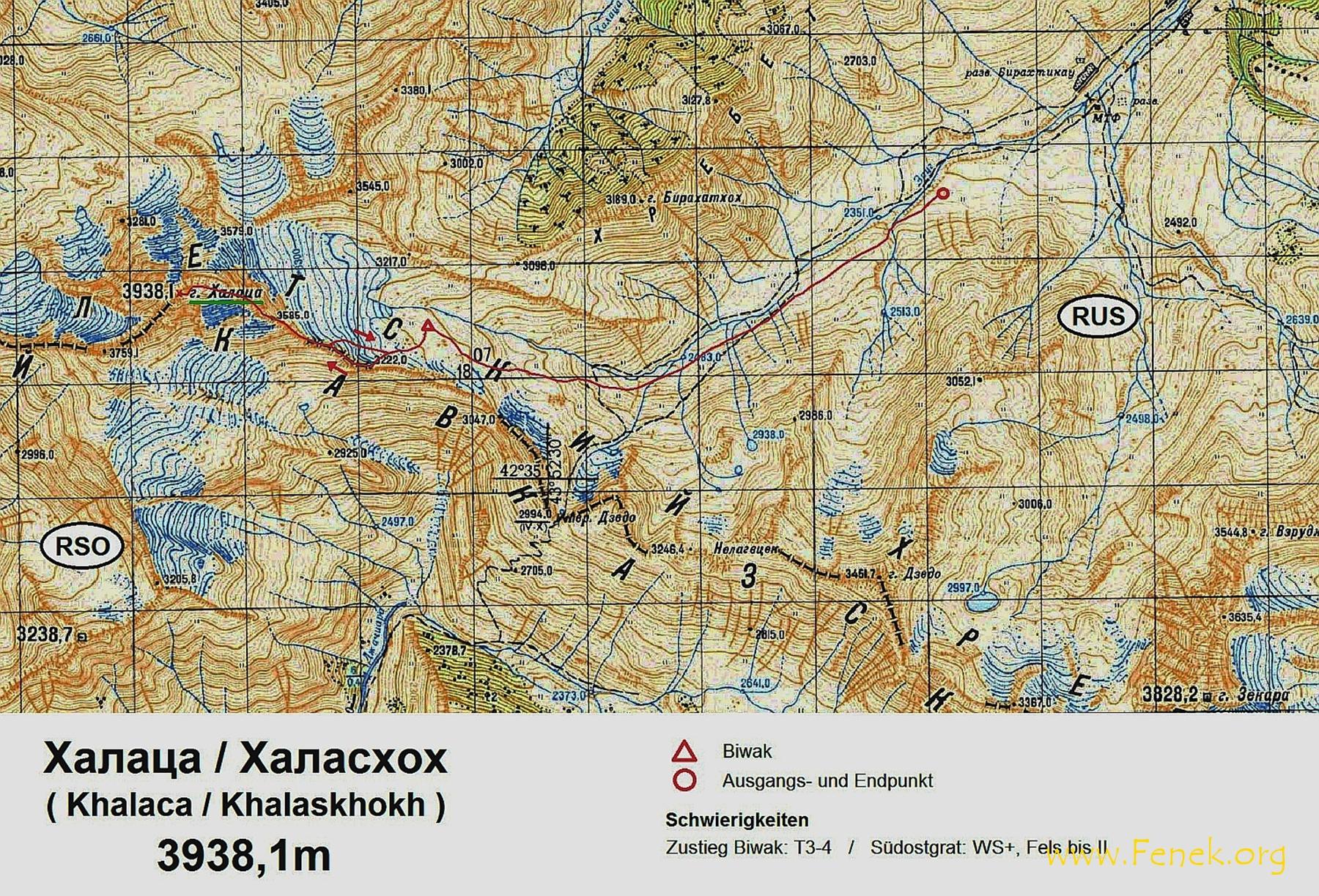 russische Karte mit unserer Route