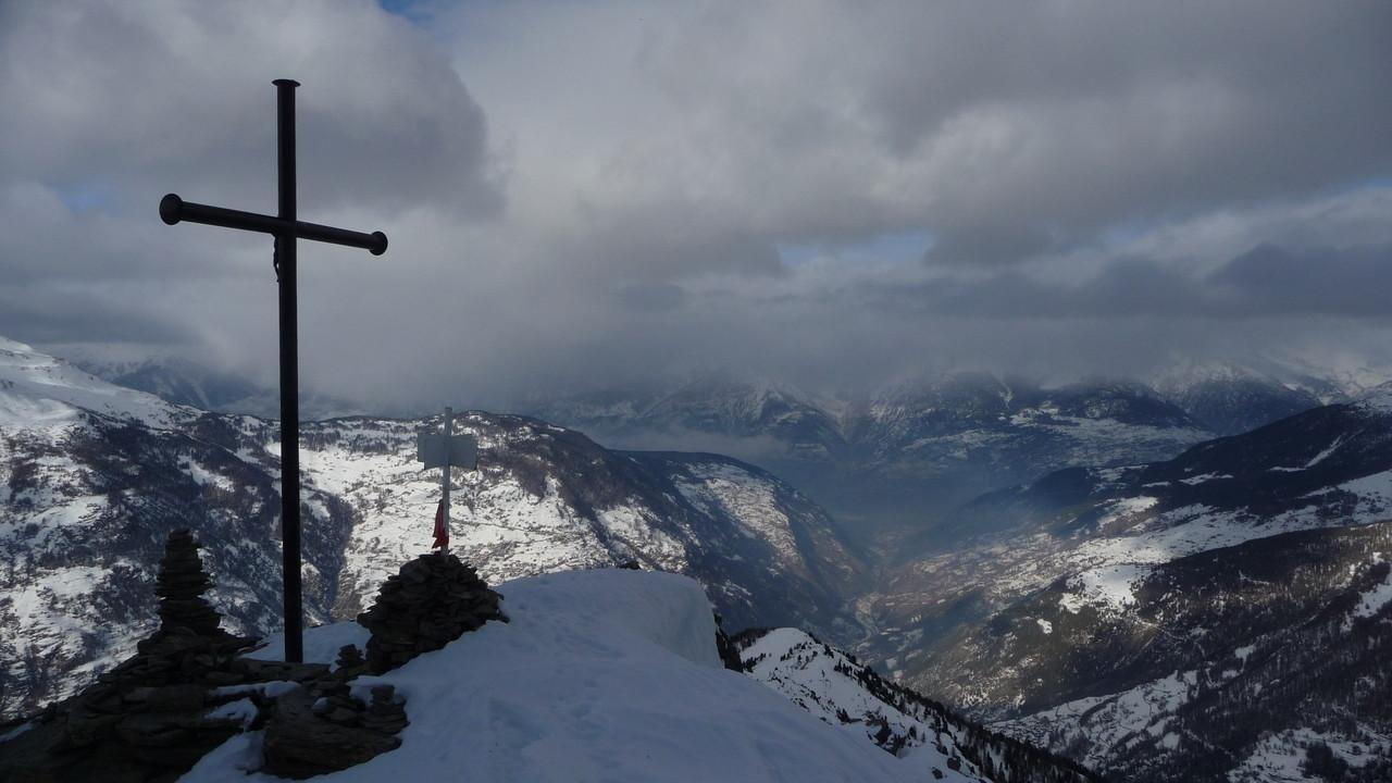Gipfelkreuz und Visp