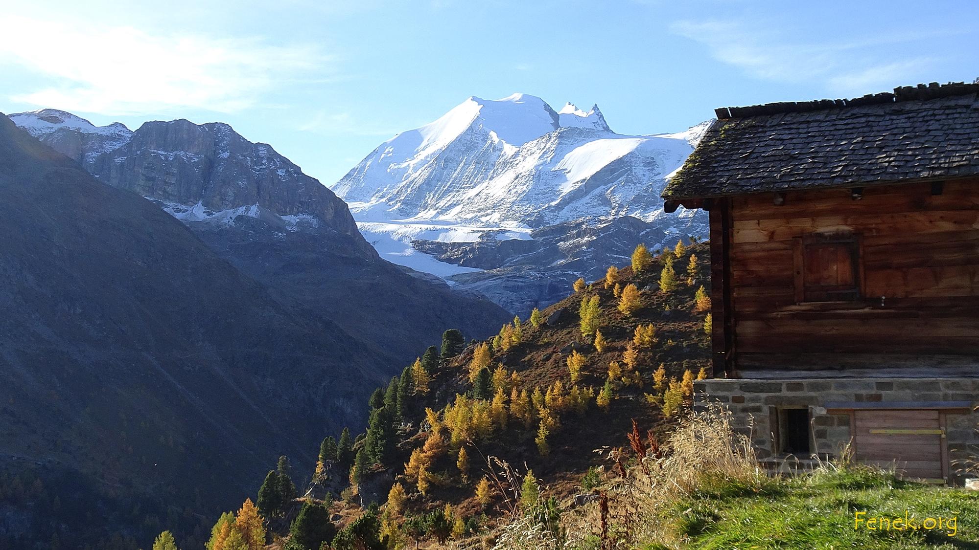 Pause in Oberstafel - an der Sonne mit Aussicht zum Bishorn und Weisshorn