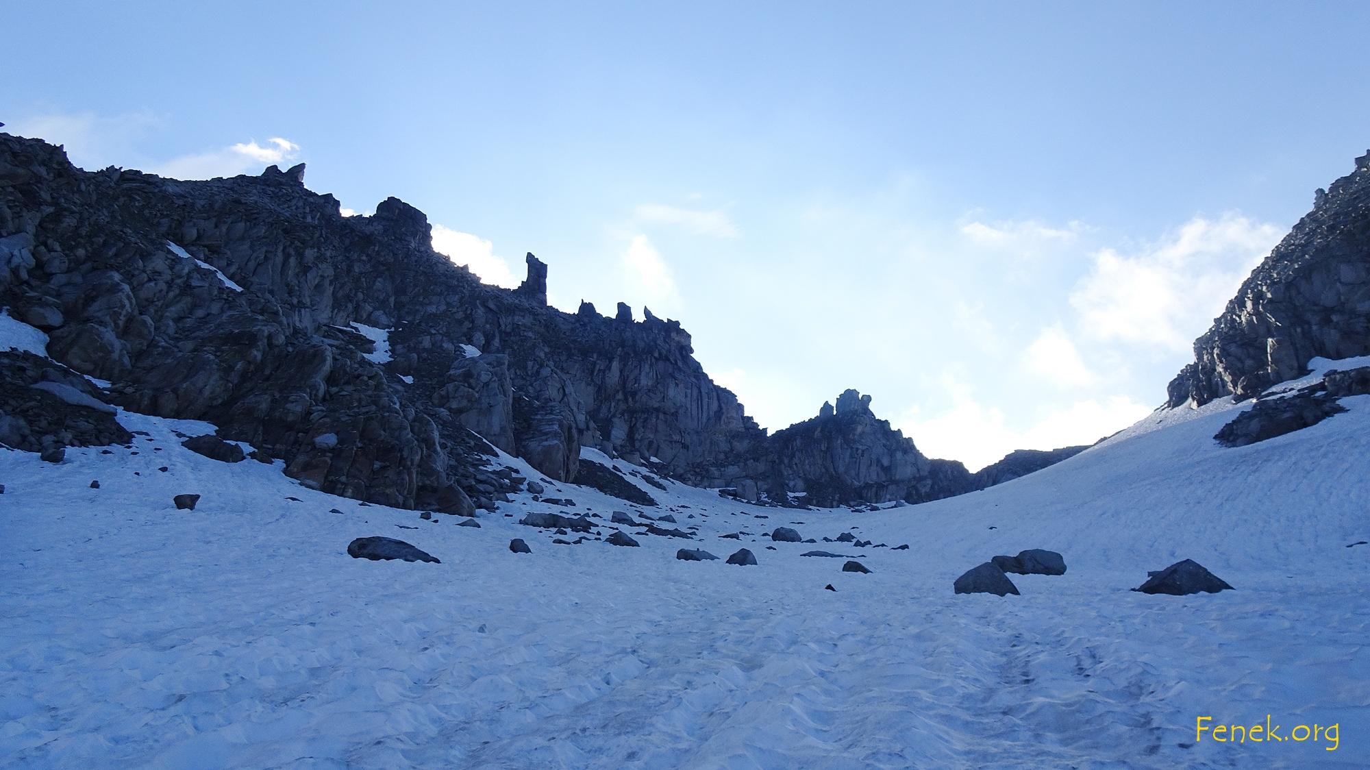 der kleine namenlose Gletscher der zum Hohsandjoch führt