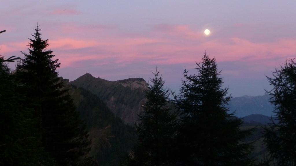 der Mond bei Morgendämmerung