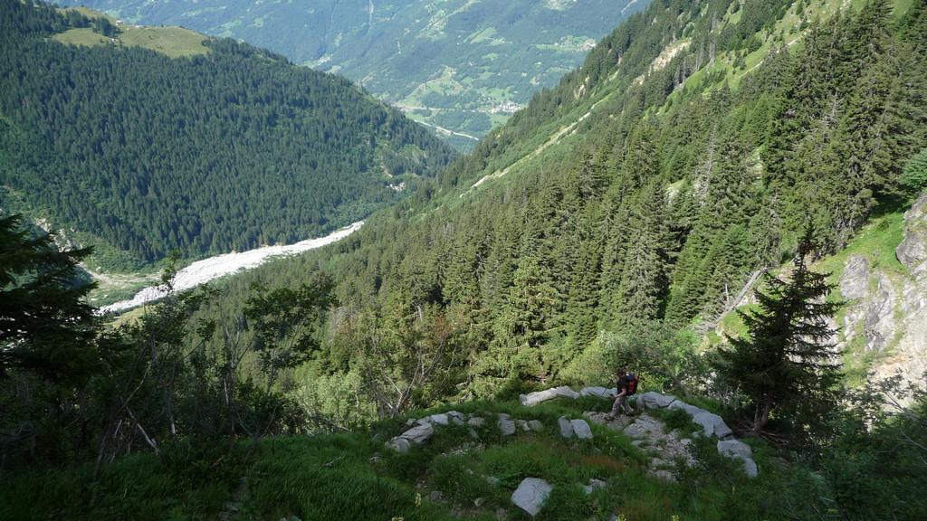 im langen Abstieg ins Tal