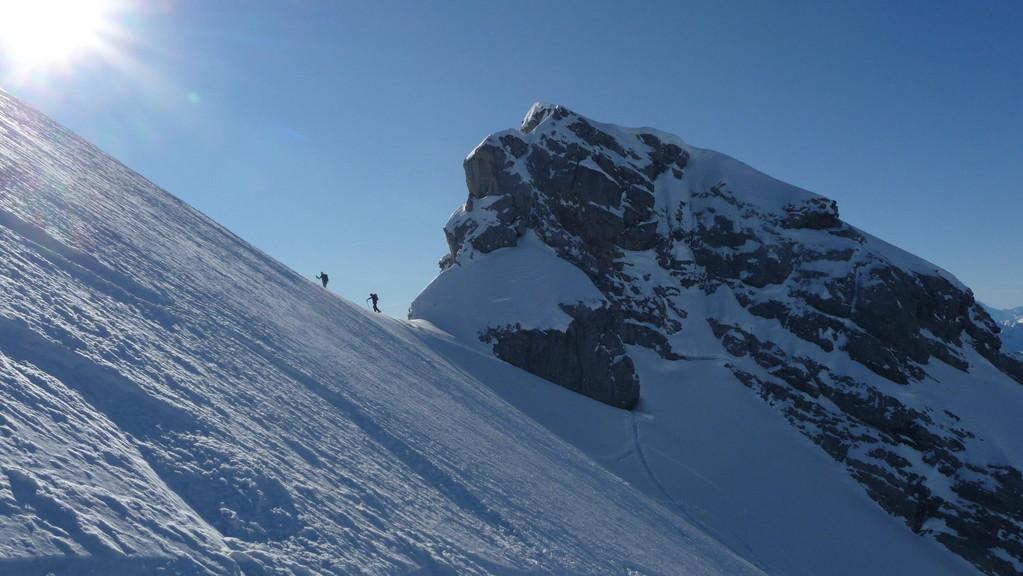 nach den ersten Schwüngen im Gipfelhang