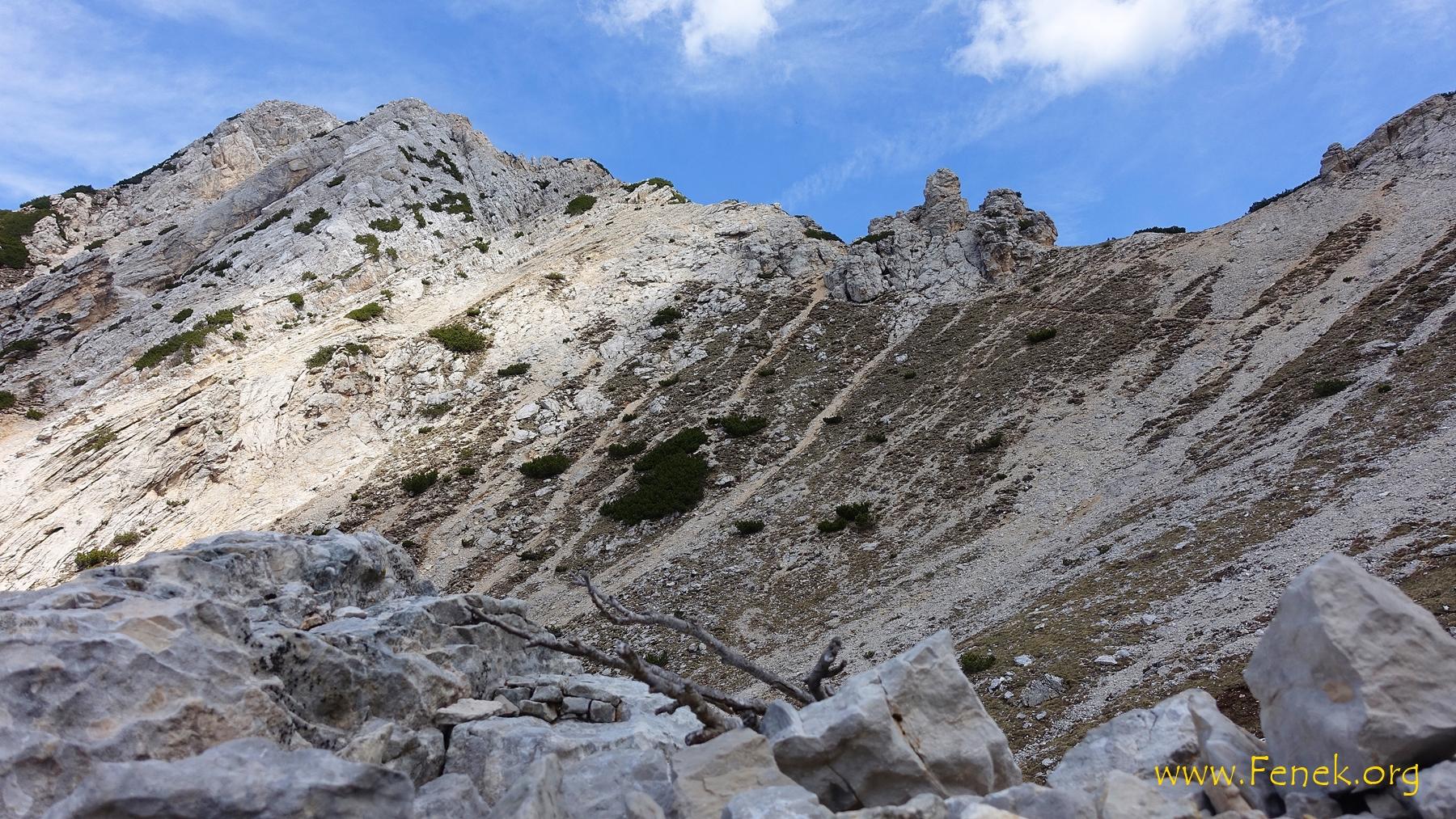 der Pass unterhalb der Cima Valdritta wo man nach Westen absteigen kann
